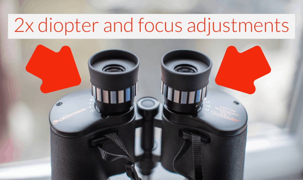 diopter and focus adjustment of the celestron skymaster 25x100 binoculars